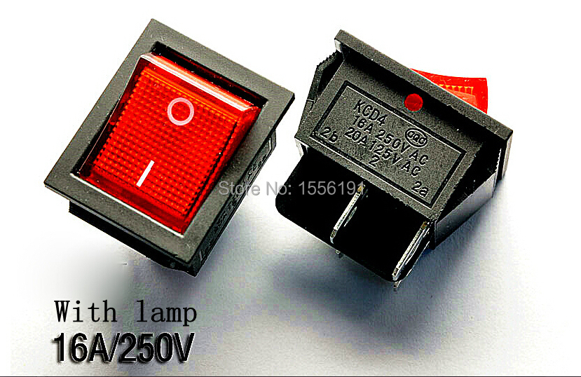 ALL new 10PCS Big Ship type switch with lamp 4pin 16A/250V 20A/125V Free shipping KCD4-201 Become warped board power switch Red(China (Mainland))