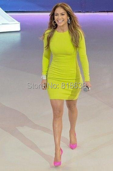 FAST SHIPPING 2014 LADIES' LIME GREE LONG SLEEVE - BANDAGE DRESS CELEBRITY PARTY WHOLESALE DROPSHIPPING(China (Mainland))