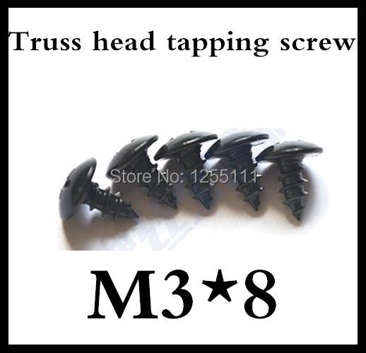 100pcs/lot M3*8 Truss Head Self Tapping Screw Steel With Black<br><br>Aliexpress
