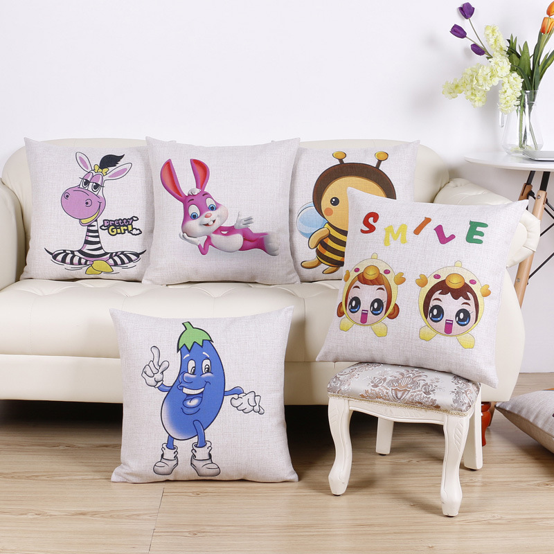 45cm Smile Cartoon bee Fashion Cotton Linen Fabric Throw Pillow Hot Sale 18 Inch New Home Decor Sofa Car Cushion Office Nap FR
