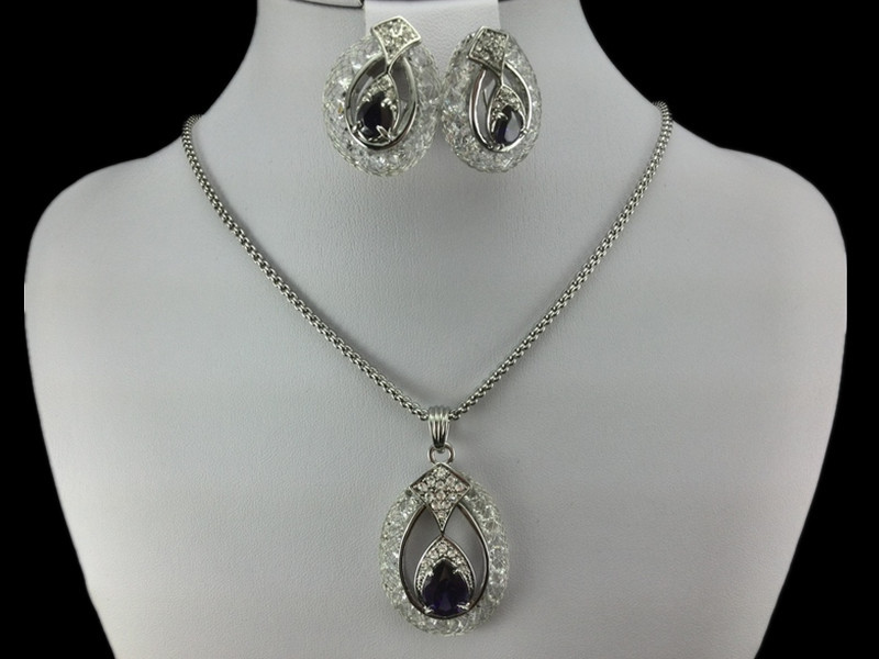 EEL Purple Crystal 18K Platinum Plated Noble Jewelry Necklace Earring Set Made Austrian moon Element Crystals  -  fashion jewelry store store