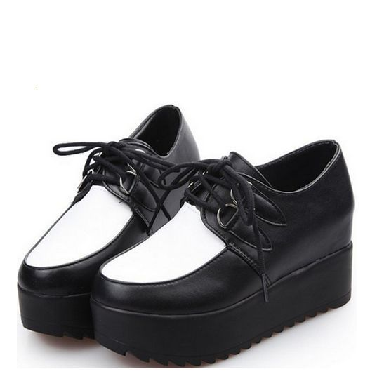 2014 New Fashion trend Women shoe Girls' lace-up thick soles high platform shoes high pumps 3 colours free shipping(China (Mainland))