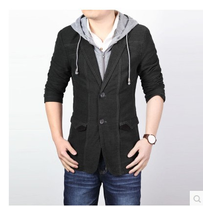 Men's Clothing Suits & Blazer Blazers spring 2015 suit men brand casual jacket terno masculino latest coat designs Hooded suit(China (Mainland))