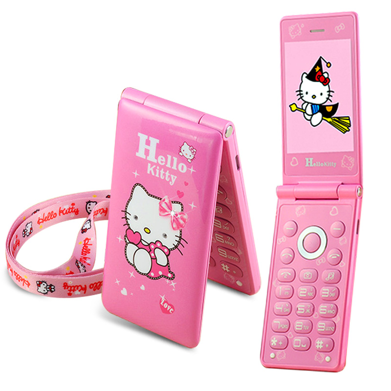 KUH D10 Flip Dual SIM Card GPRS Breath Light touch screen Cell Phone women girl MP3 MP4 cartoon hello kitty mobile phone P297(China (Mainland))
