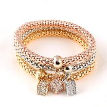 2016 Gifts 3Pcs Gold Filled Heart Charm Elastic Bracelets For Women Pulseras Bracelet Cute Multilayer Bangles pulseira feminina(China (Mainland))