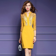 2017 Women's Dresses V-Neck Vestidos Hollow Out Sleeve Work Casual Slim Bodycon Ladies Dress Female Pencil Embroidery Dresses(China (Mainland))