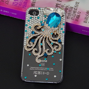 Free shipping,luxury octopus bling diamond rhinestone Crystal protective case shell cover For apple iphone 5 iphone 5s case(China (Mainland))
