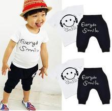 Boys Summer Cotton Clothes sets Smile Face Printed Cute T-shirts+ pants kids pajama clothing set Baby(China (Mainland))