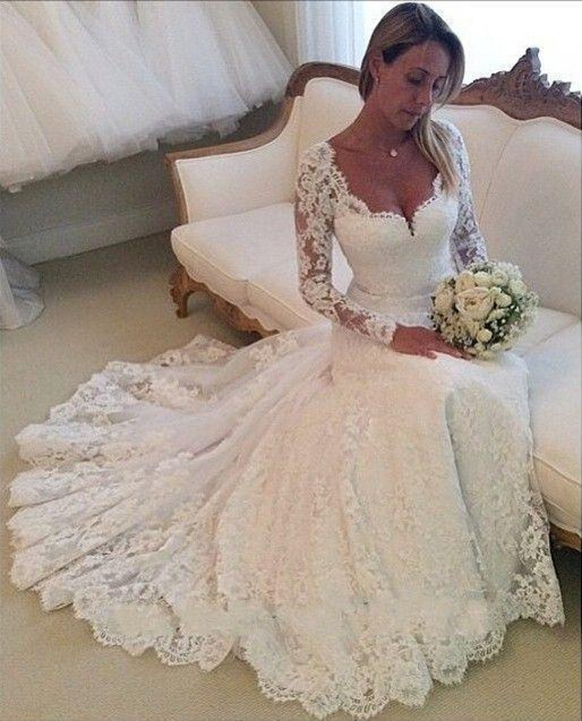 2015 Lace Wedding Dresses Long Sleeves Mermaid Wedding Gowns Sweetheart Appli