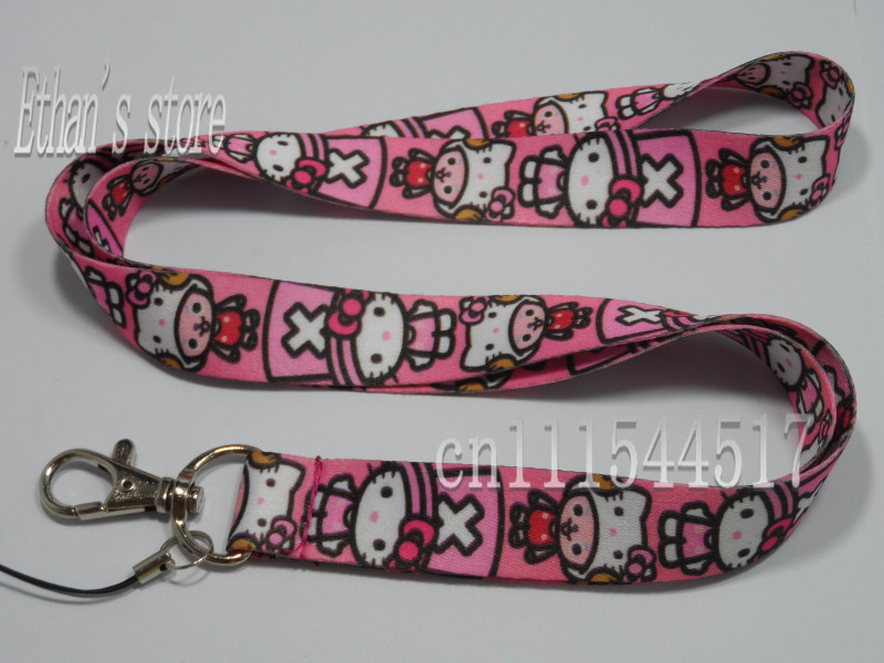 New arrival Kids Hello Kitty with cap key lanyard for girls Free Shipping(China (Mainland))