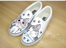 Hand Painted Fashion Platform Women/Men 2015 Spinrg Summer Dunk Low Slip-on Canvas Slippers Lovers/Couple Loafers