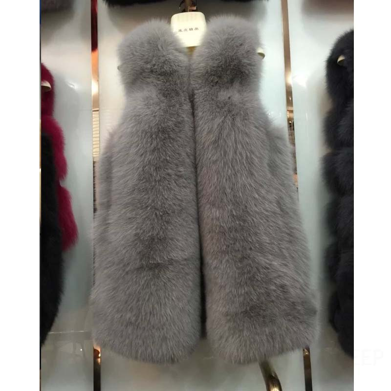 2016 Genuine Fox Fur Vest Medium-long Fur Pelt Waistcoat 100% Genuine Fox Fur Gilets 4 Colors(China (Mainland))