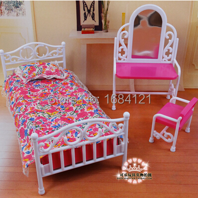 New Arrival Christmas gift (dressing table + bed+ pillow + bedsheet )accessories for barbie doll,girls play house girls gifts(China (Mainland))