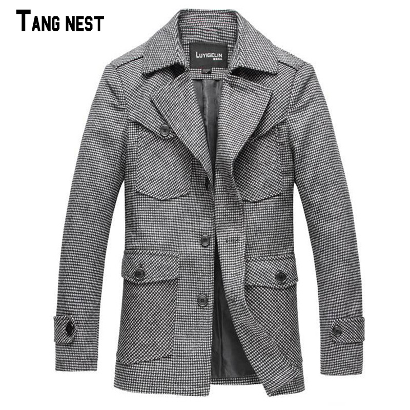 Mens Woolen Coat 2015 New Arrival Casual Fashion Plaid Mens Long Woolen Coat Winter Thick  Single Breasted Woolen Coat MWN123Одежда и ак�е��уары<br><br><br>Aliexpress
