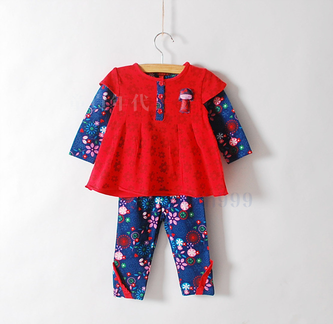 baby  little girl flower umbrella cartoon Long sleeve t-shirts pants suits<br>