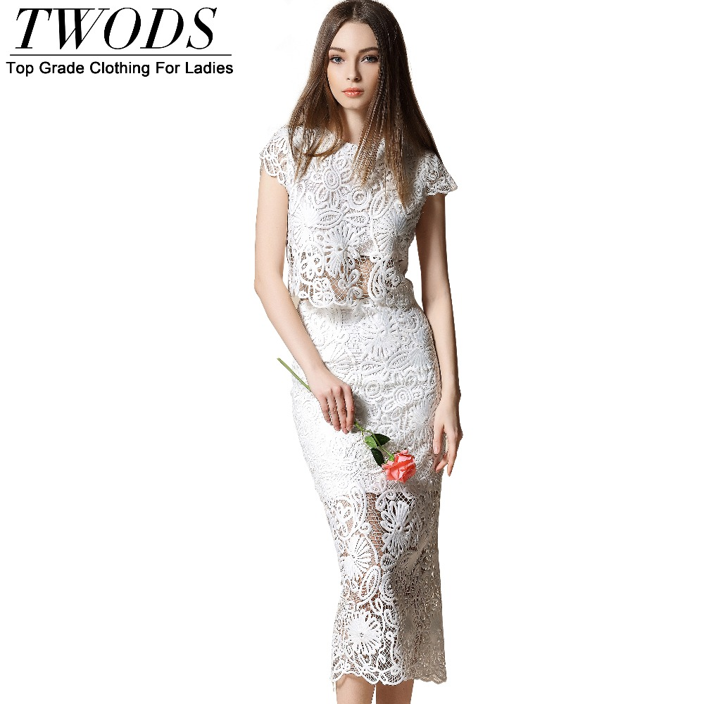 Twods 2016 New Fashion Summer Style Lace Two Pieces Set For Women Crop Top And Skirt Suit Sexy See Through Brand DesignerОдежда и ак�е��уары<br><br><br>Aliexpress