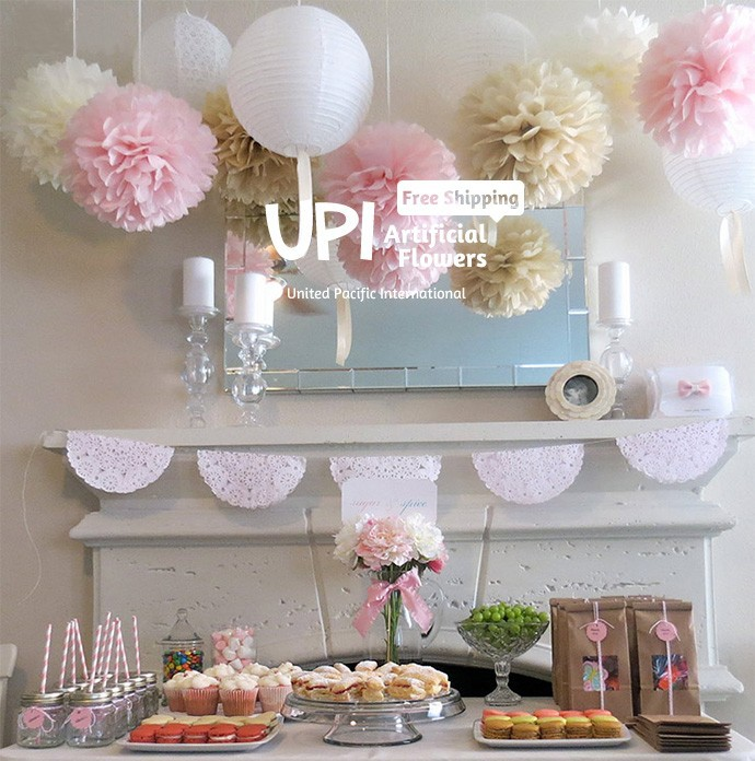 Wholesale 12 inch Handmade 20 colors Wedding Paper Flowers Ball Pom Poms For Wedding & Home Decoration(China (Mainland))