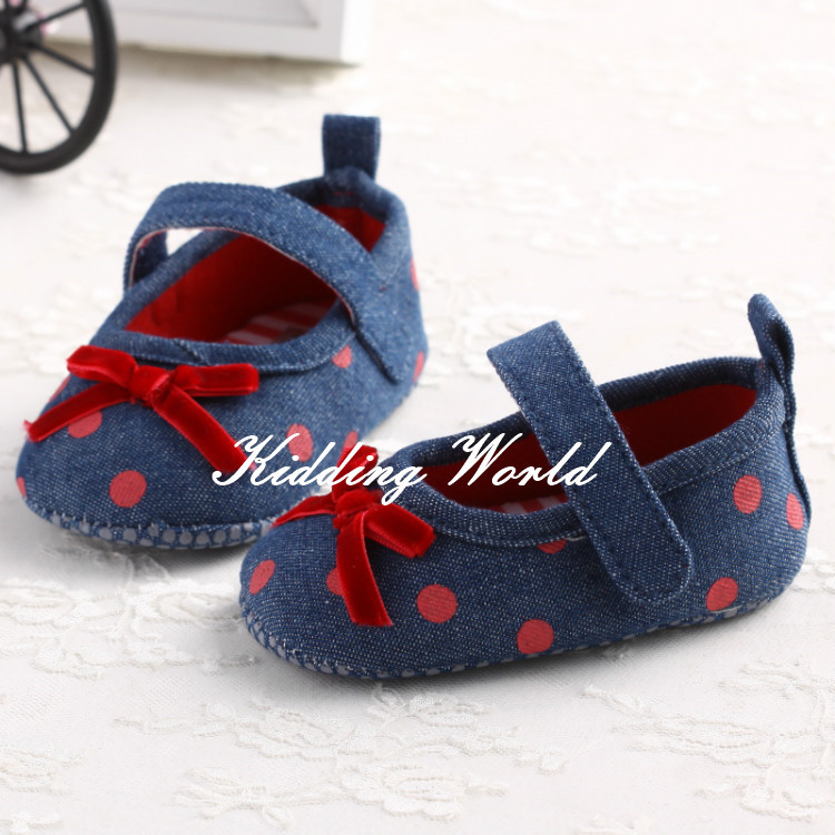 2014 canvas material pink dot with ribbon baby first walker kids shoes(China (Mainland))