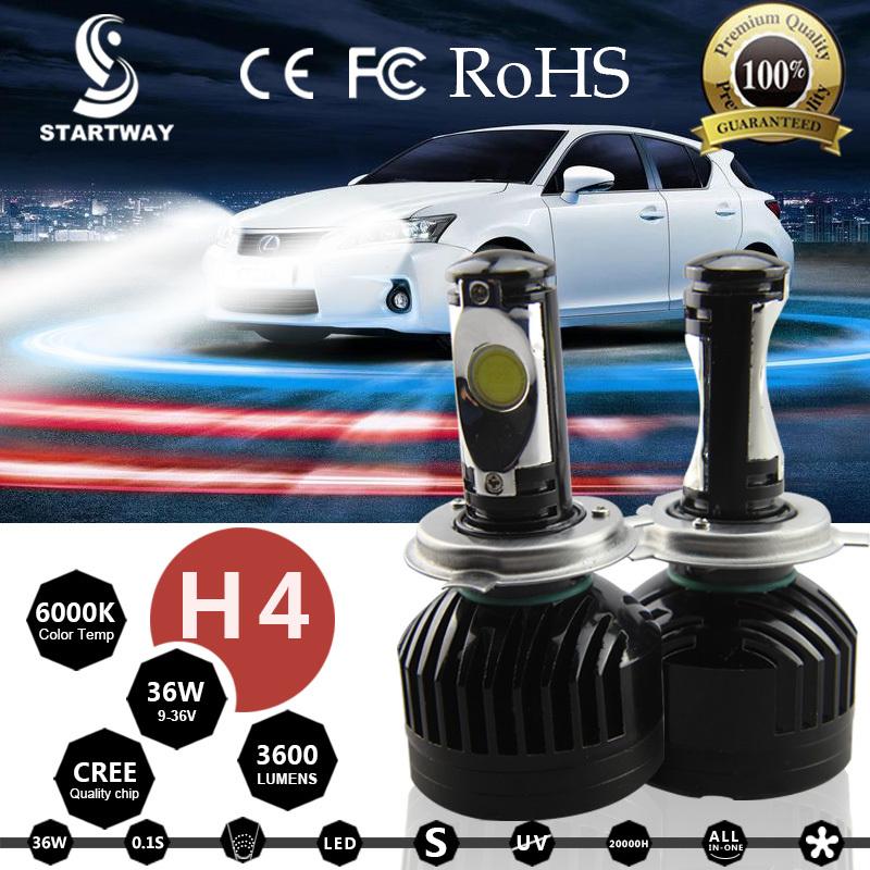 Free Shipping LED Headlight Bulbs H4 H7 H11 H13 HB3/9005 HB4/9006 9004 9007 36w 3600lm 6000k Super Bright  LED Lamp Cree Chip <br><br>Aliexpress