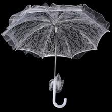 1 pz vintage ombrello del merletto handmade del cotone del ricamo di pizzo bianco ombrello parasole di cerimonia nuziale decorazioni all'ingrosso(China (Mainland))