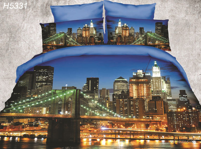 HD digital 3D bedding set New York 3d comforter cover night view 3d bed set 3d city bedclothes new fashion hot sale 5331(China (Mainland))