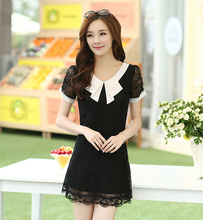 2015 summer new womens short sleeve slim thin doll collar lace crochet mini dress ladies black white bow dresses plus size M-4XL(China (Mainland))