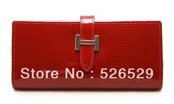 Free Shipping Women's crocodile leather pattern wallet ladies japanned cowhide genuine leather clutch bags for women brand job