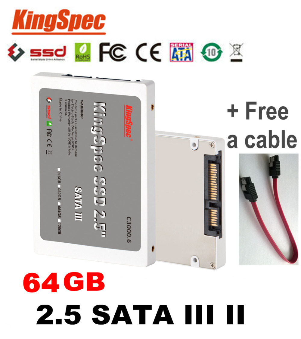 Hot Kingspec 2.5 Inch SATA III 3 6GB/S SATA II 2 SSD 64GB SSD Disk MLC Solid State Drive Computer Components SSD Free Cable(China (Mainland))