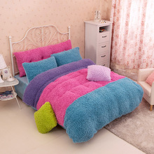4pcs Thicken Cashmere Bedding sets Winter Warm Quilt Duvet Cover Bed sheet Pillowcase King Queen size(China (Mainland))