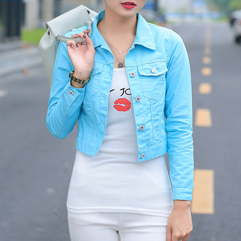 New 2016 Spring And Autumn Denim Outwear Ladies Blue Pink White Yellow Fall Jacket Female Casual Cotton Jean Jackets For Women(China (Mainland))