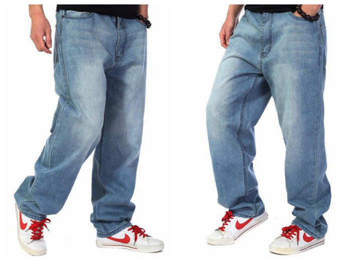 Baggy pants for men can be one to three sizes bigger than your usual pants. Because if they are too fitting, you'll quickly start to look like a wannabe. If you feel uncomfortable in wide pant legs, try carrot jeans or cargo pants instead.