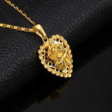 18K Gold Plated Rose Heart Deluxe Trendy Pendant Necklace Chain Luxury Fashion Cute Romantic Women Girl Gift Jewelry Necklaces