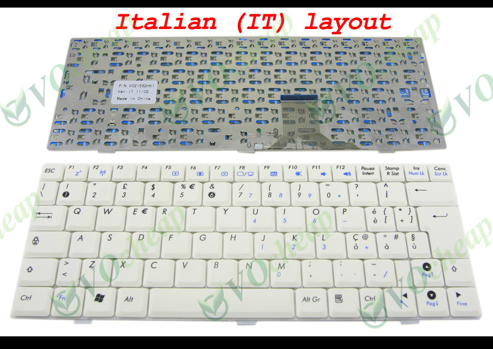 New Laptop keyboard for ASUS EeePC 1000 1000H 1000HA 1000HD Series White Italian IT Version - V021562HK1(China (Mainland))