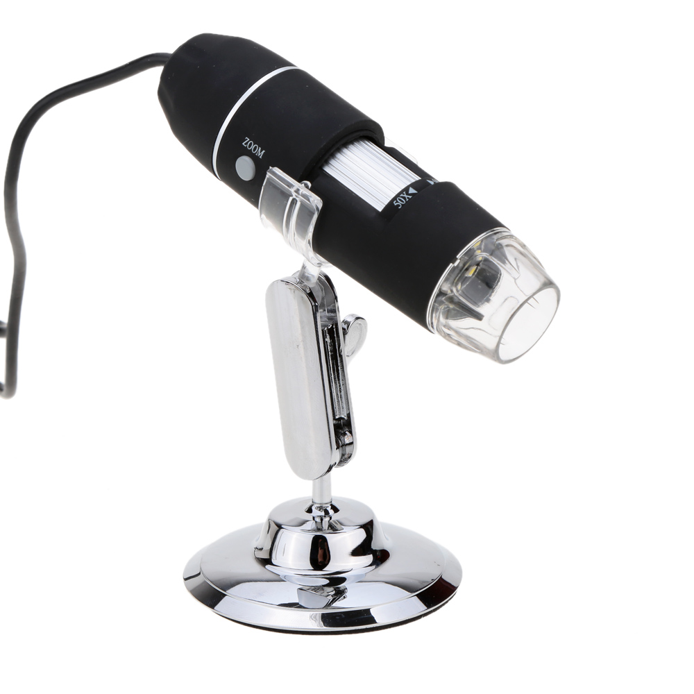 Portable 2.0 MP 50X~500X 8 LED USB Digital Microscope Endoscope Magnifier Camera with Driver Black Lightweight(China (Mainland))