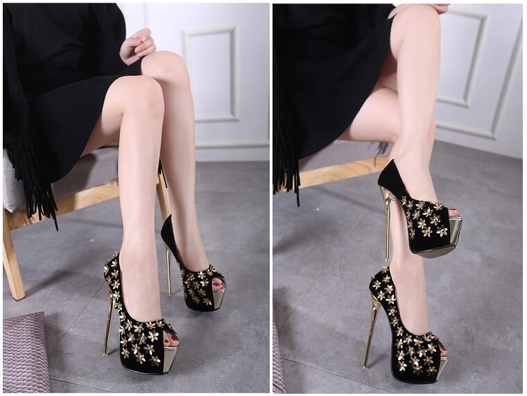 High quality Summer New Sexy Fashion Hot Women Platform Pumps Flower Decoration High Heels 16 cm Stiletto wedding shoes
