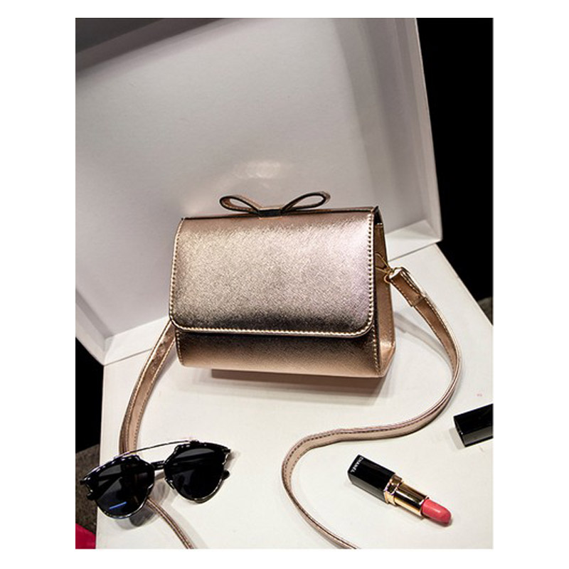 Free shipping New Women's bowknot decoration bag lady's fashion fresh Messenger Bag gold,silver beige black color choice(China (Mainland))