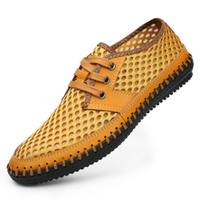 New 2016 Summer Genuine Leather Breathable Mesh Men Casual Shoes Fashion Handmade Outdoor Sport Driving Walking Chaussures Homme(China (Mainland))