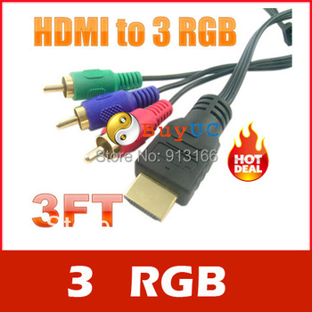 Gold HDTV HDMI to 3 RCA RGB Adapter Cable 3FT 1M