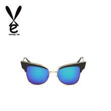 HOT!!Fashion Metal Sun glasses Cat eyes Women Sunglasses Designer High Quality Vintage Retro Glasses Gafas oculos De Sol