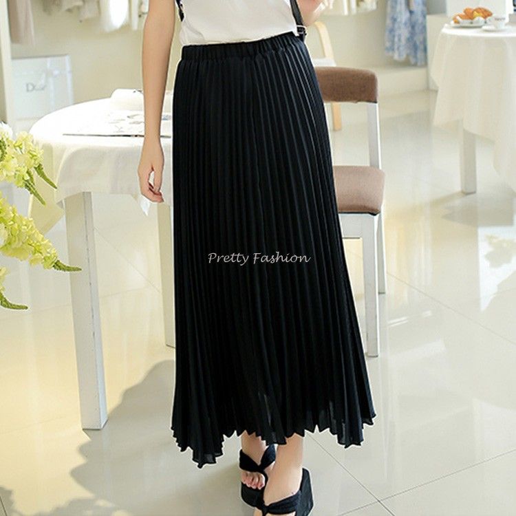 Cheap Price High Quality Fashion Womens Candy Color High Waist Elastic Waist Chiffon Full Long Maxi Skirts 7colors 12(China (Mainland))