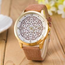 2016 Mais Novo Flor Impresso Moda Relógios Mulheres Analógico Quartz Relógio de Pulso Recém Design Simples Vestido Da Senhora de Couro Reloj Relogio