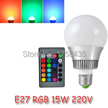 New arrival LED RGB Bulb 85-265V E27 15W led Bulb Lamp with Remote Control multiple colour led lighting ZM00360(China (Mainland))