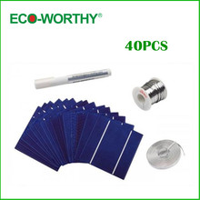 100W DIY Solar Panel Kit 40pcs 5x5 125x125mm Polycrystalline Poly Solar Cell Tab Wire Bus Wire Flux Pen for DIY 12V Solar Panel(China (Mainland))