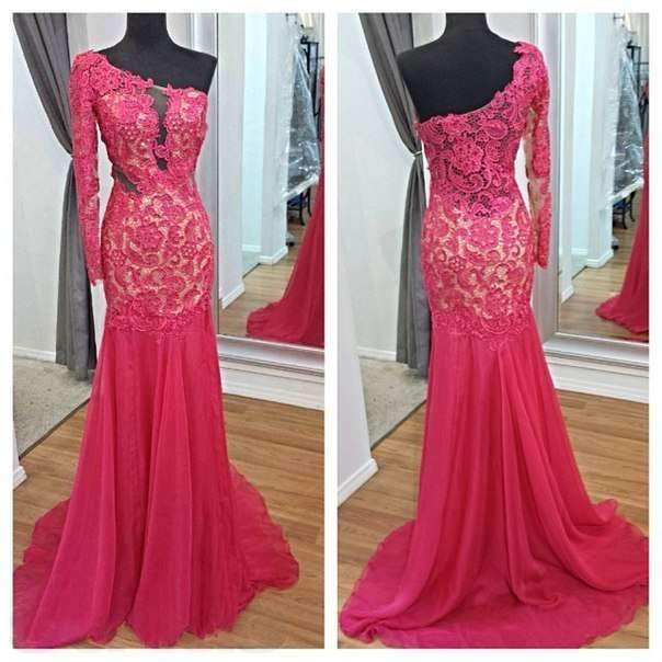 Real Picture Evening Dress Mermaid One Shoulder Party Hot Pink Celebrity Gown Appliques Lace Sleeve Special Occasion - Weddings & Events Collection store