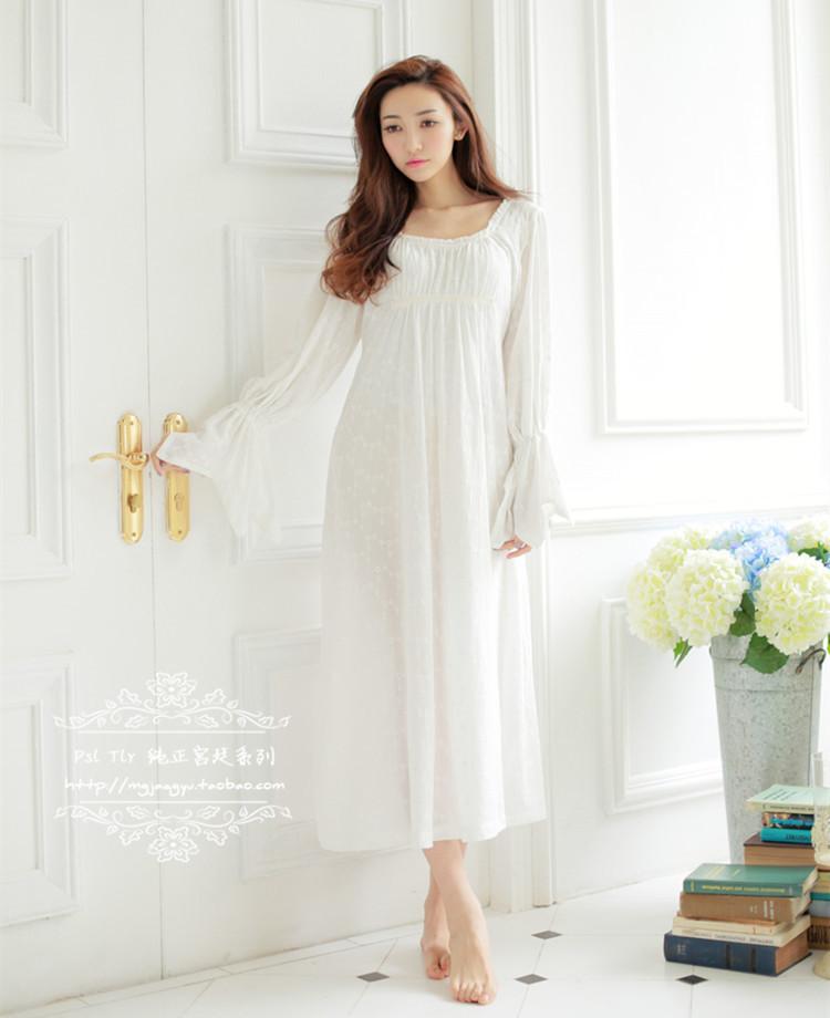 Psl Tlr 100% Cotton Princess Nightdress Royal Pajamas Long White Nightgown Womens Sleepwear Ladies pijamas femininosОдежда и ак�е��уары<br><br><br>Aliexpress