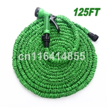 125FT Green Garden Hose Stretched Working Lenght 37.5M mangueira EU/US Connector Watering Hoses With 7 set Spray Gun(China (Mainland))