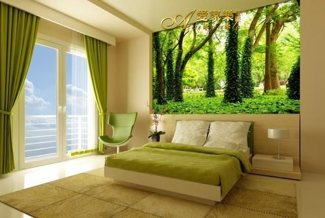 Custom size large 3d trees landscape tree forest mural for Tree wallpaper bedroom