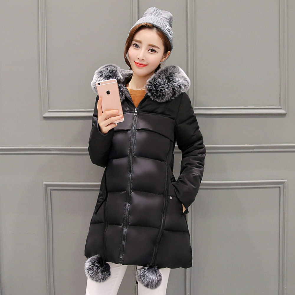 Winter Jacket Women Coats Thick New 2016 Winter Coat Women Parkas Black Removable Large Fur Collar Hooded Coat Woman Outwear(China (Mainland))