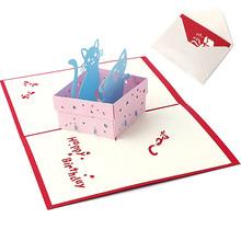 3D Pop UP Holiday Greeting Card Cat Box Animal Christmas Thanksgiving Birthday Gift -Y102(China (Mainland))