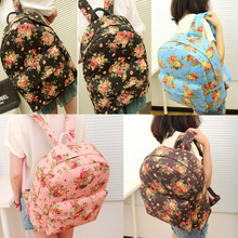 Preppy Style Floral Pattern Canvas Girl's Women's Backpack Schoolbag Travel Bag Rucksack HB88(China (Mainland))
